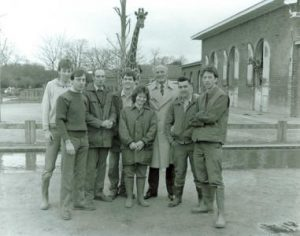 The team at London Zoo with boxer Henry Cooper