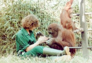 Samantha with Orangutans