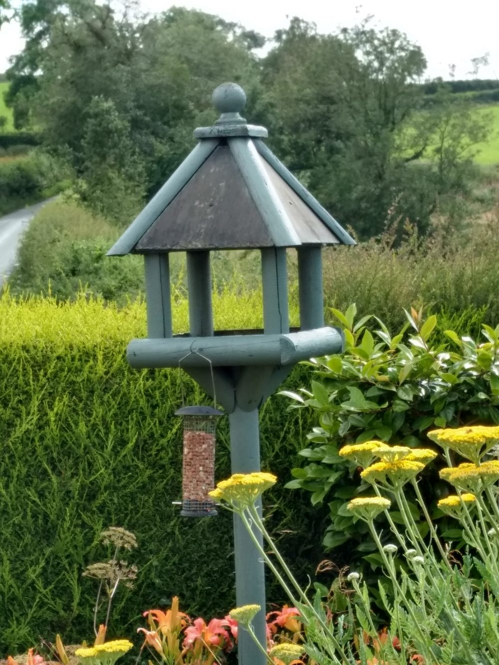 """This Bird Table is over 12 years old and was given a coat of Cuprinol """"Wild Thyme"""" paint some three months ago"""